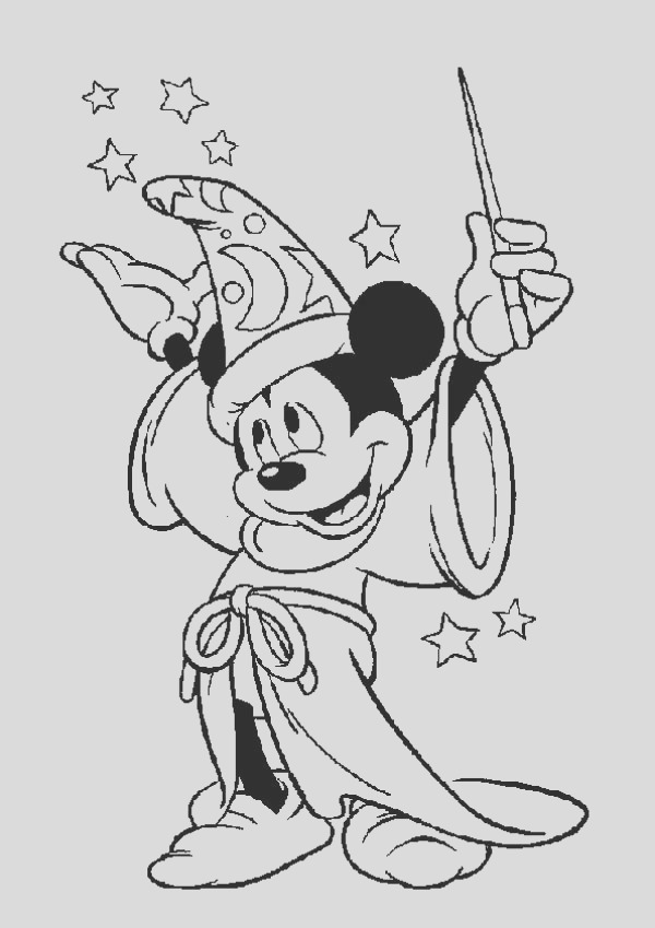 mickey mouse the magician coloring page