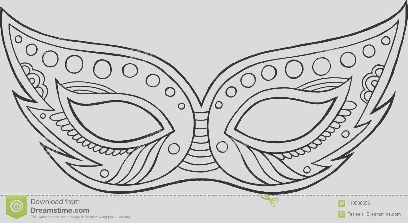 mardi gras mask outline isolated element coloring page ad adults vector illustration image
