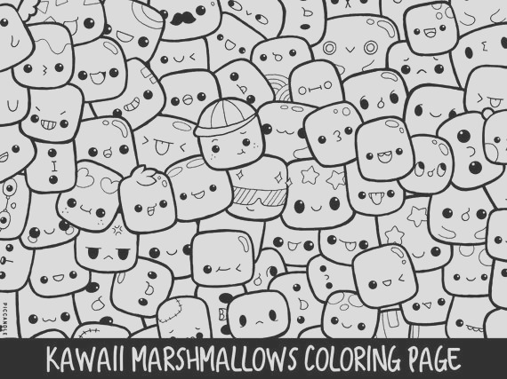 marshmallows doodle coloring page