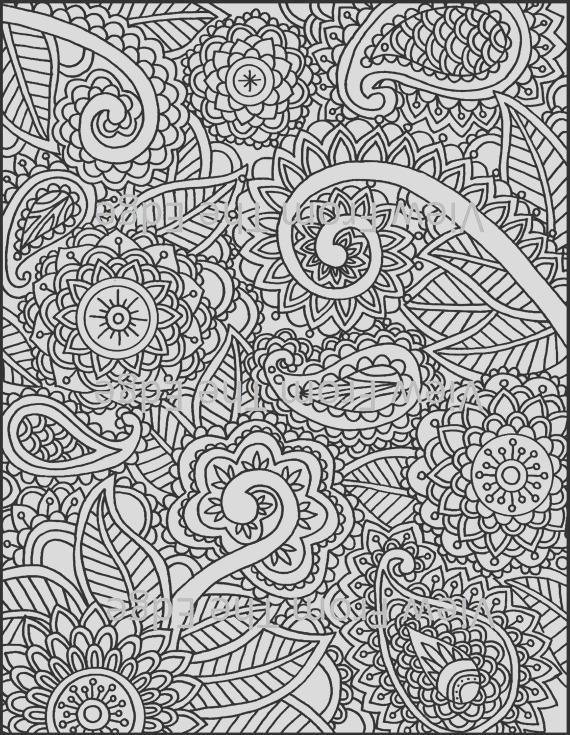 mehndi coloring page henna adult