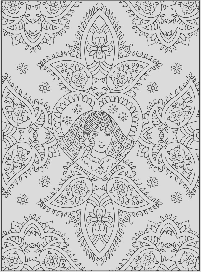 paisley henna mehndi coloring art print pages colo