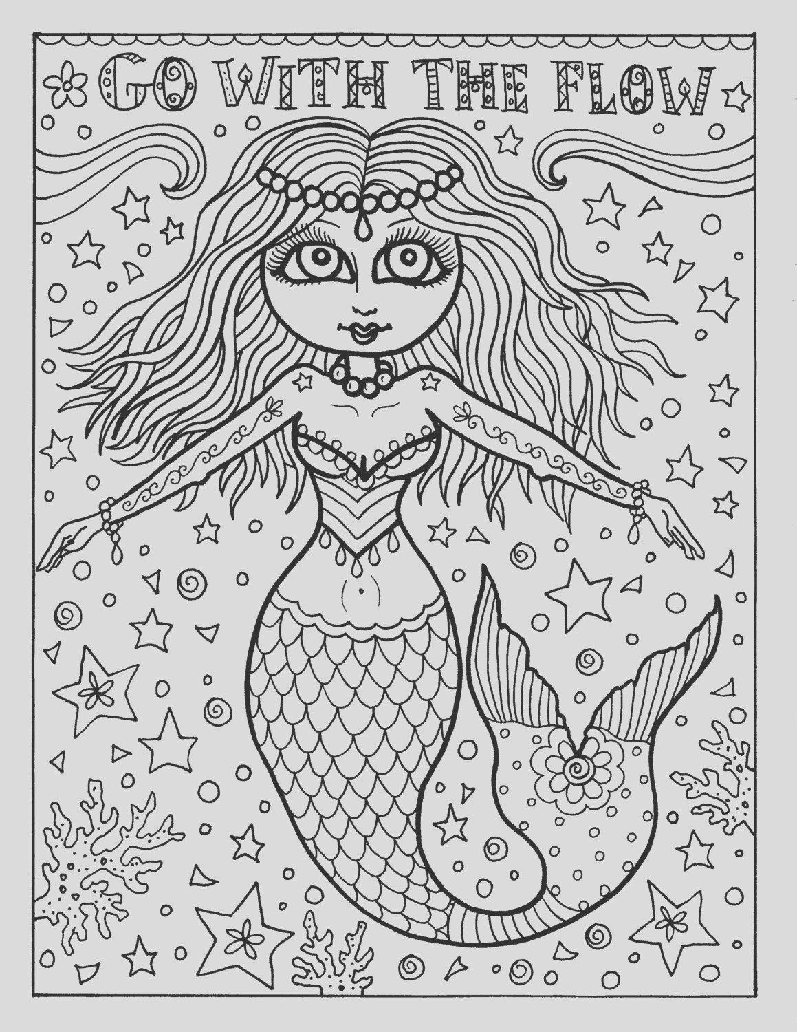 instant coloring page mermaid