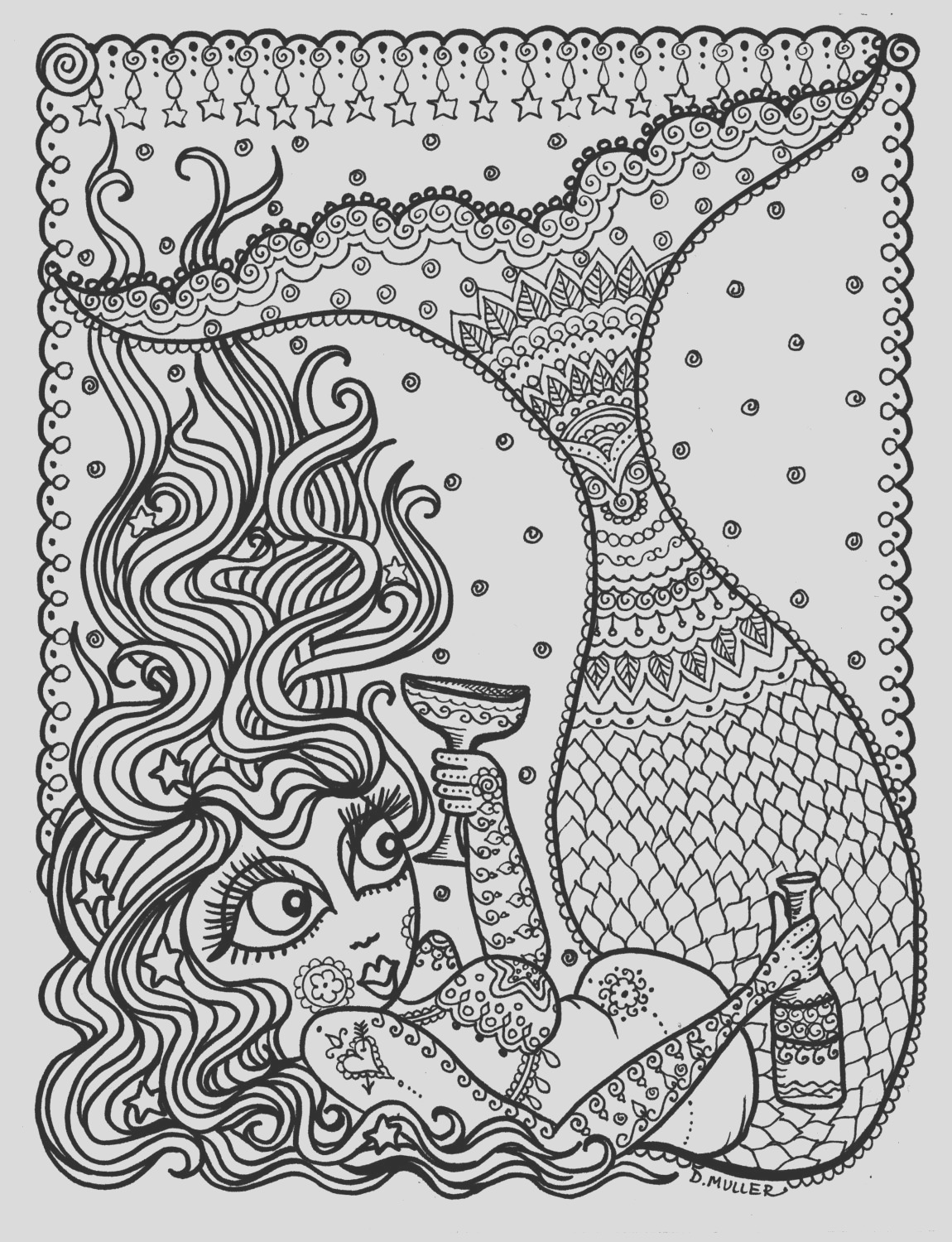 mermaid instant coloring page