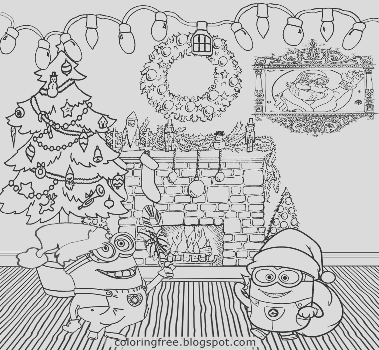 cool merry christmas minions coloring