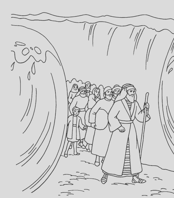 moses divide red sea coloring page