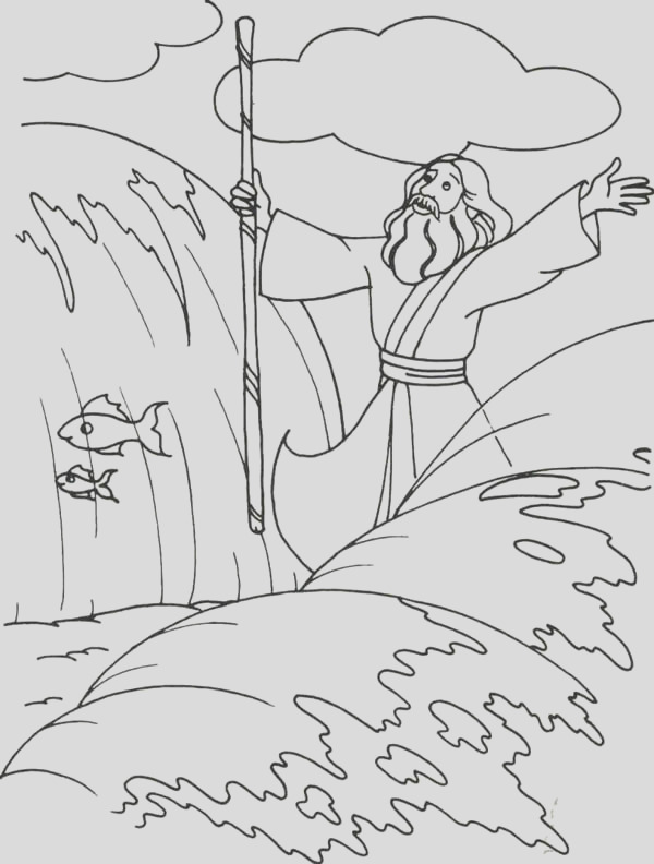 coloring page moses parts red sea