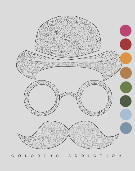 adult coloring page mustache