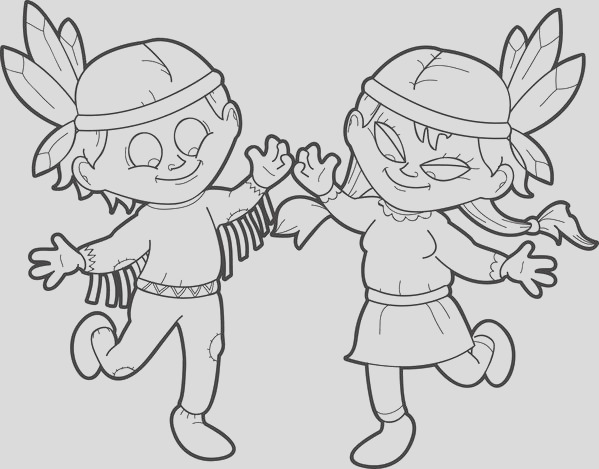 two kids dressed up as indians coloring page a4340