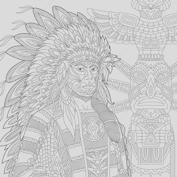 native american indian chief 3 coloring