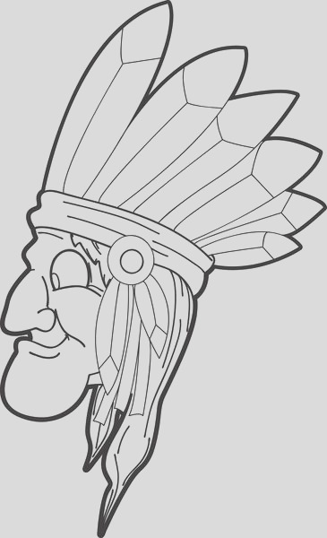 indian with long hair and a feathered head band coloring page a4338