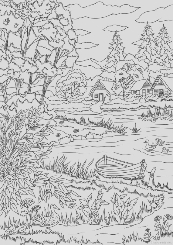 lake view printable adult coloring page