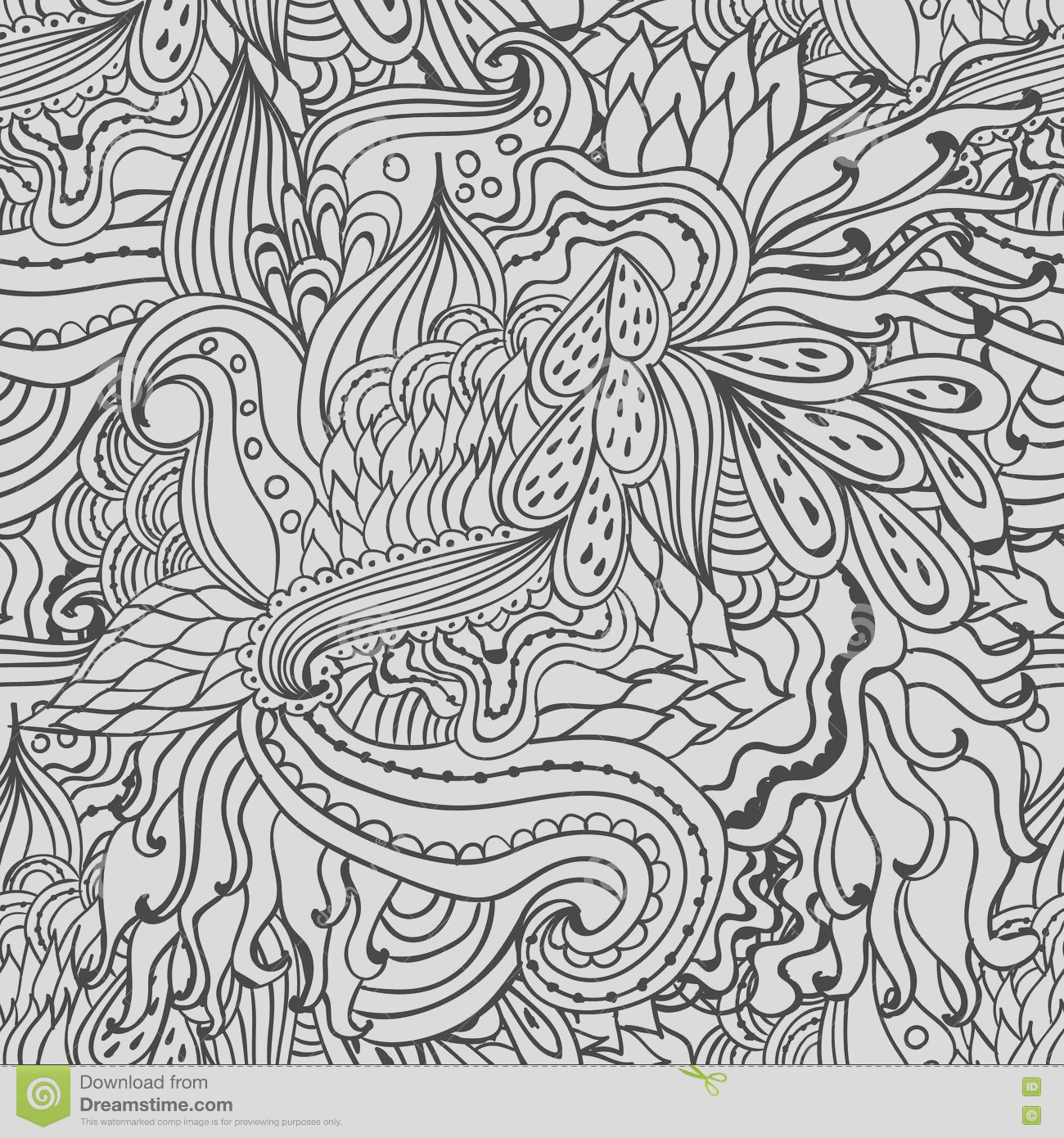 stock illustration coloring pages adults decorative hand drawn doodle nature ornamental curl vector sketchy seamless pattern book image