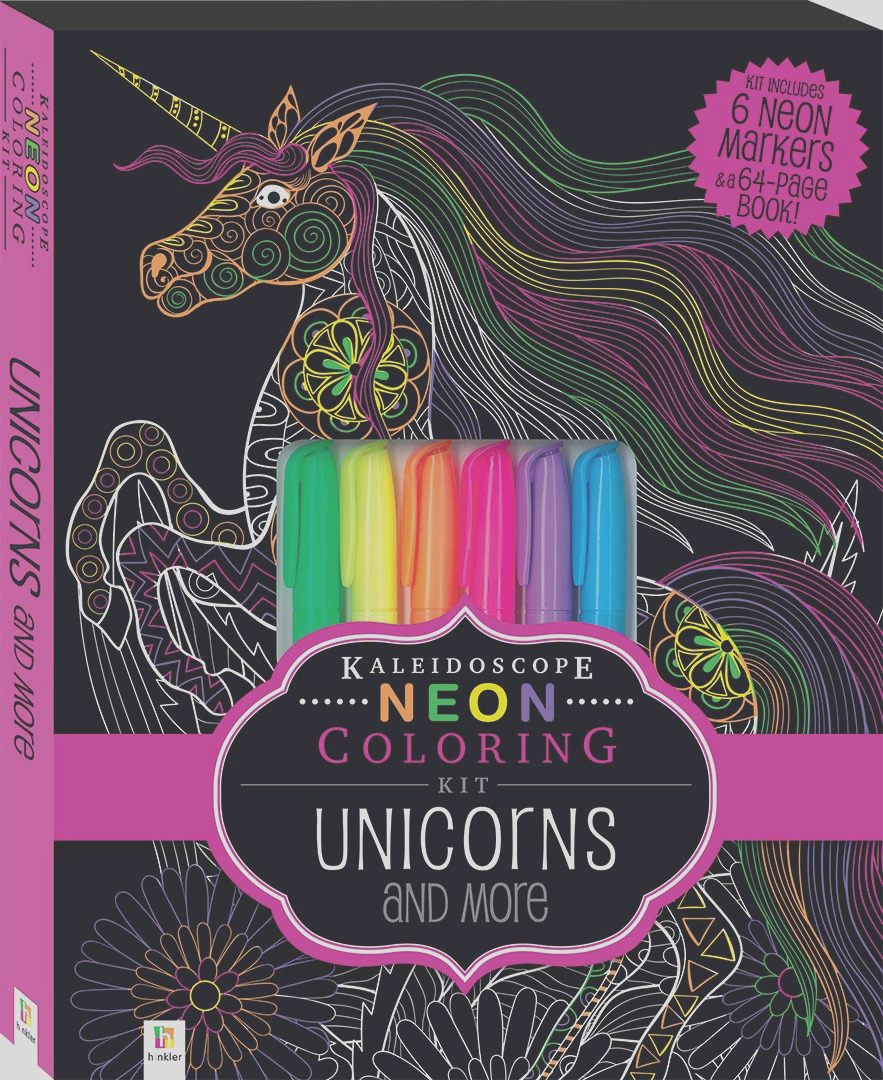 kaleidoscope neon coloring kit with 6 highlighters unicorns