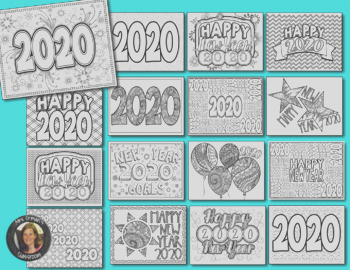 New Year 2019 Coloring Pages for Teens and Adults