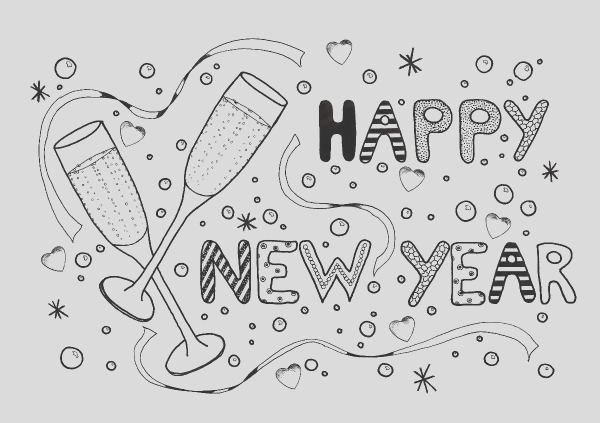 New Year Celebration Adult Coloring Page