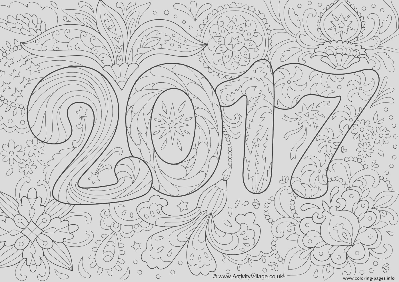 doodle adult new year 2017 printable coloring pages book
