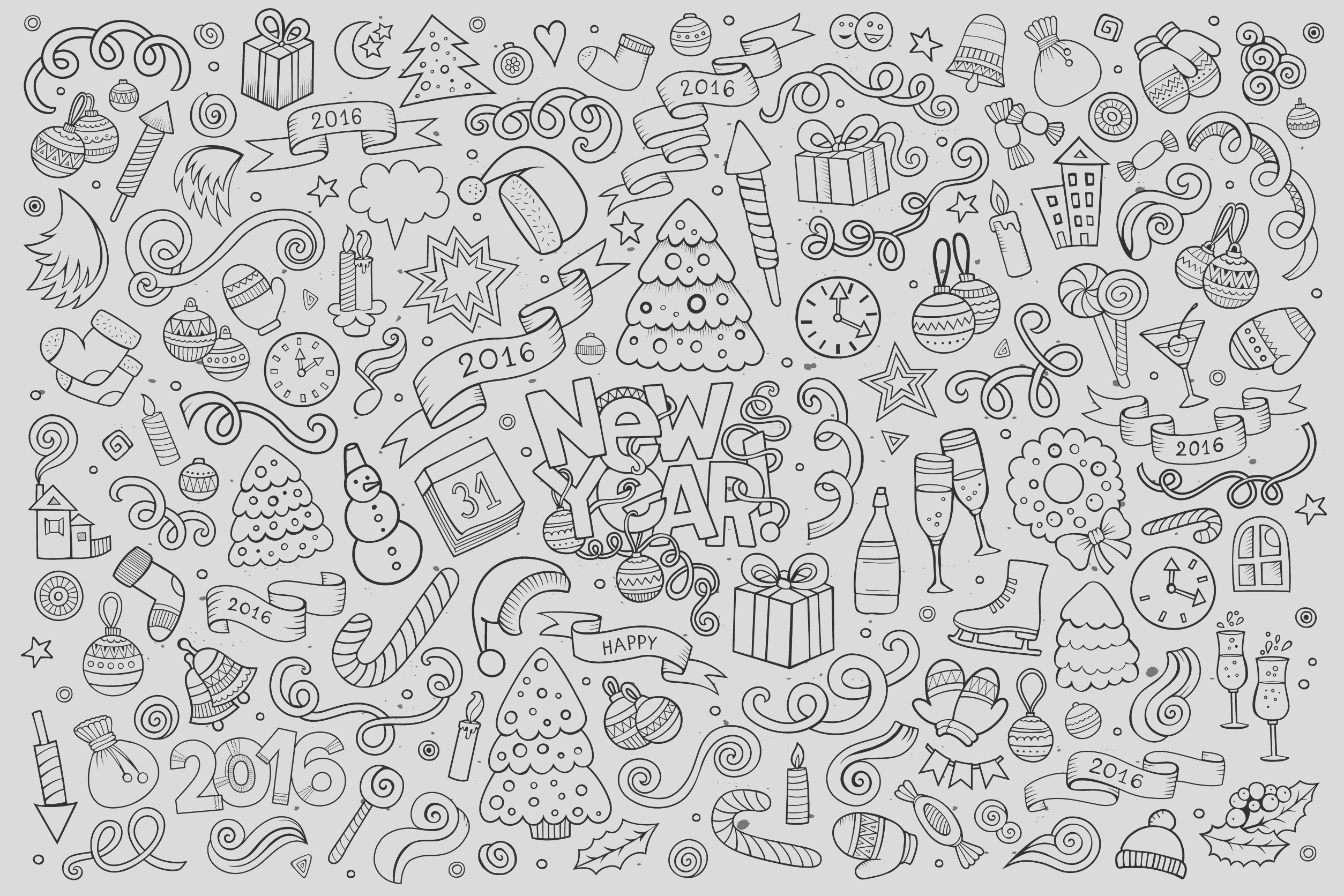 image=doodle art doodling coloring doodle happy new year 2016 by balabolka 1