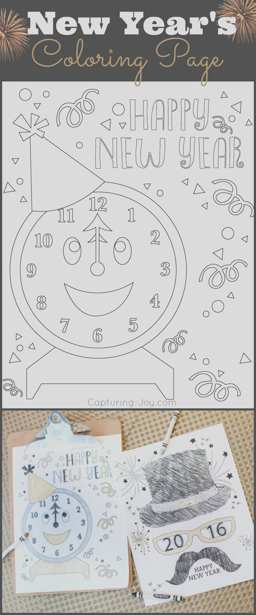 happy holidays new years eve coloring pages