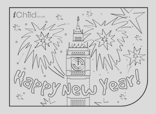 Happy New Year Colouring in picture