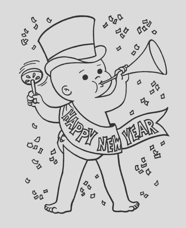 baby new year in action on new years eve coloring page