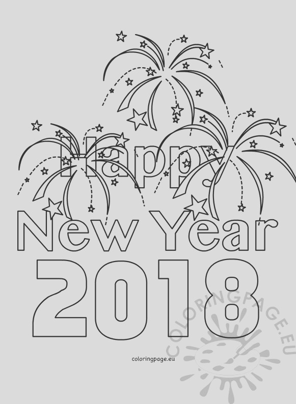 happy new year 2018 kids coloring