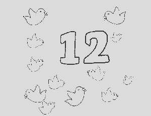 12 Number and Things Coloring Page