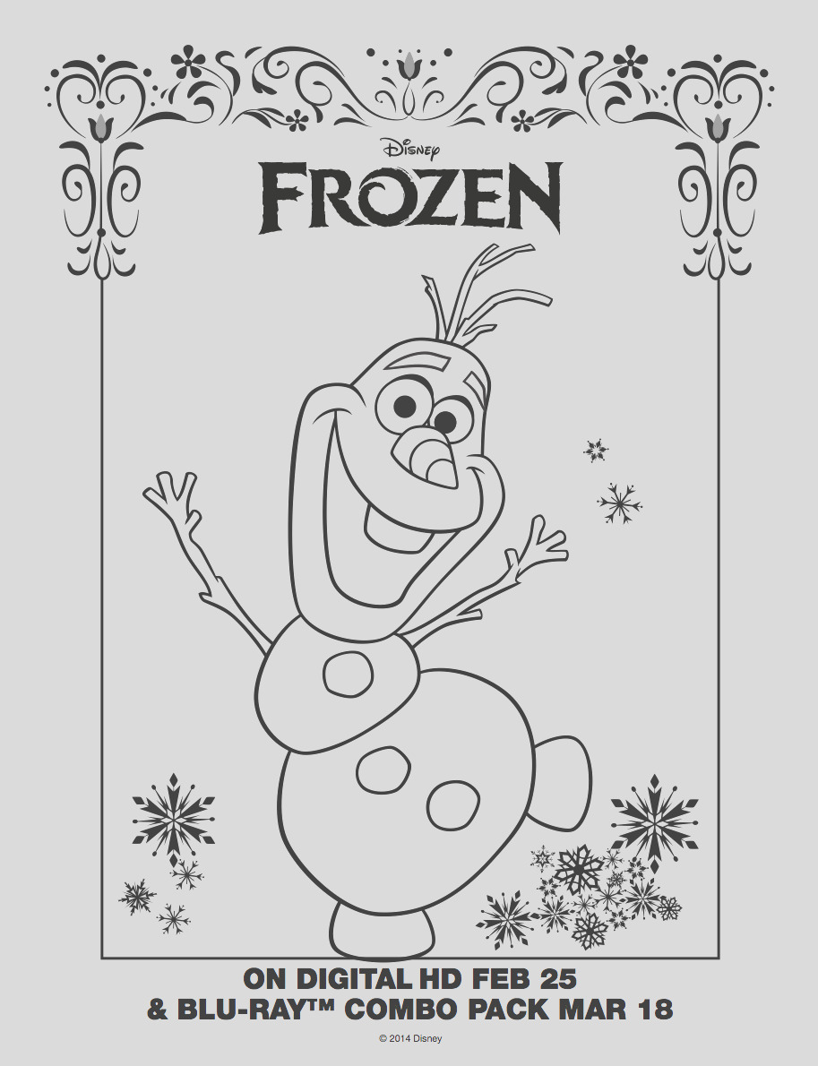 frozen olaf coloring sheet photo