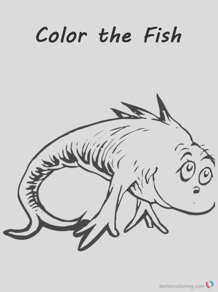 dr seuss one fish two fish coloring pages color the fish