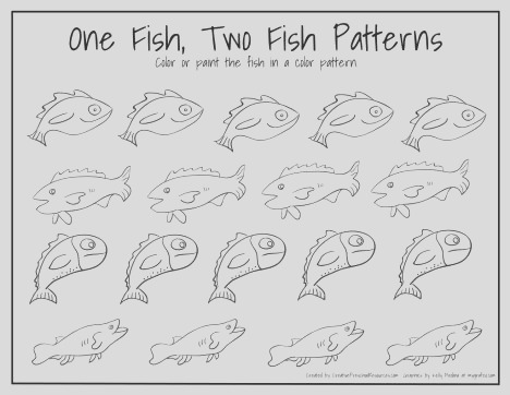 e Fish Two Fish Red Fish Blue Fish Coloring Pages part 2