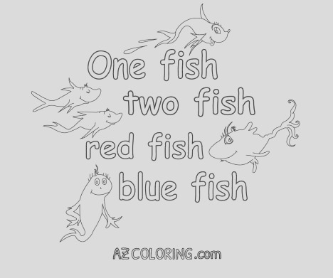 e Fish Two Fish Red Fish Blue Fish Coloring Pages part 1