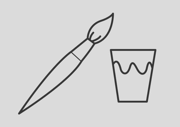 brush and a cup of paint coloring page