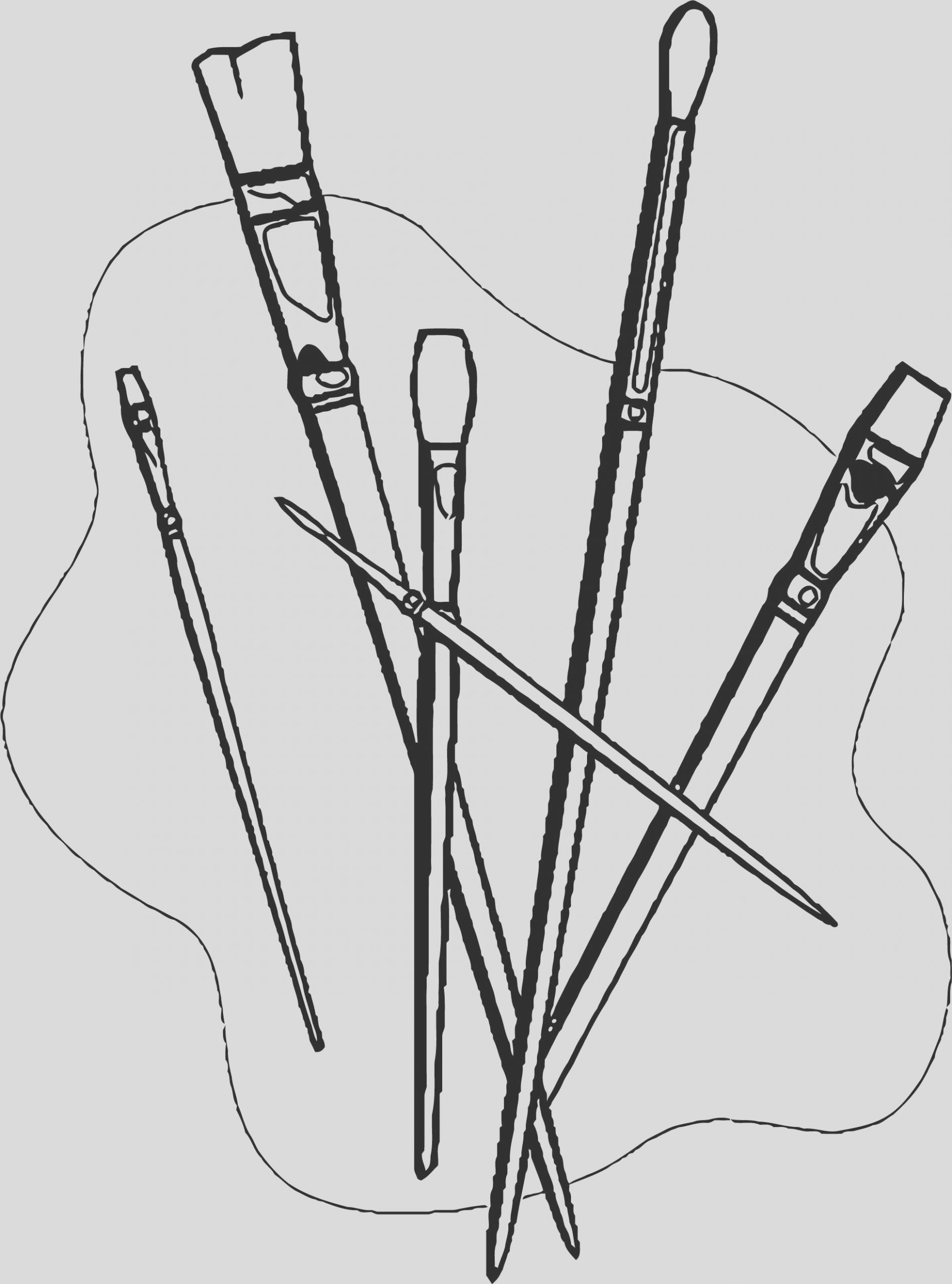 painter realistic brush coloring page