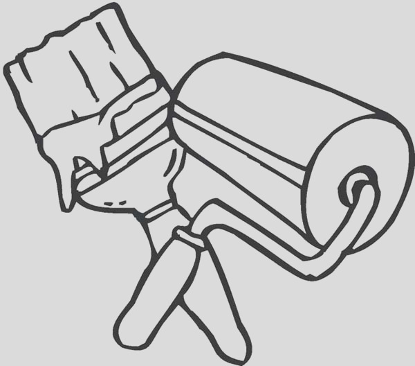 brush and roller for paint coloring page