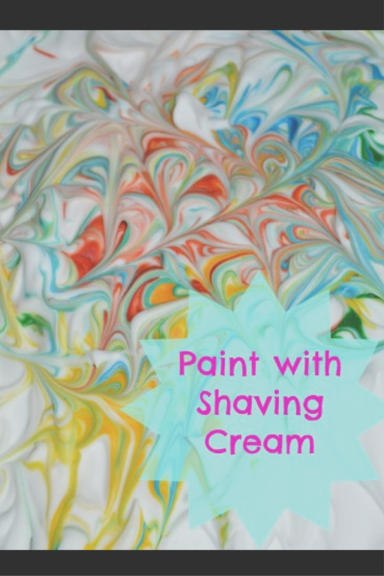 painting shaving cream food coloring