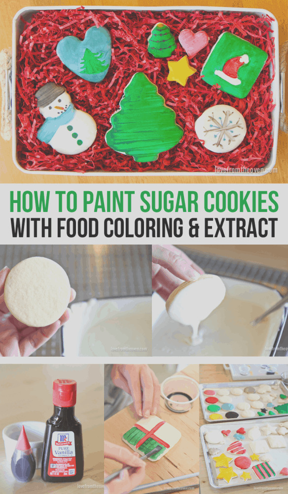 how to paint sugar cookies with food coloring and extract