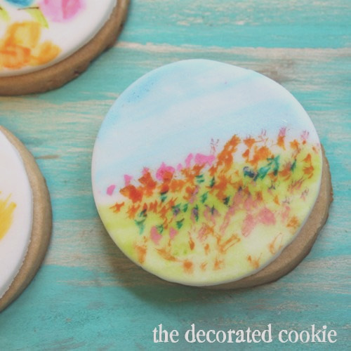 painting watercolor on cookies