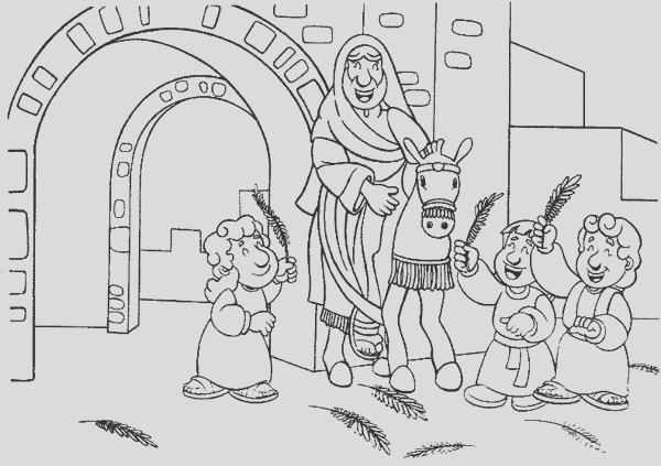 cartoon of jesus entrance in palm sunday coloring page