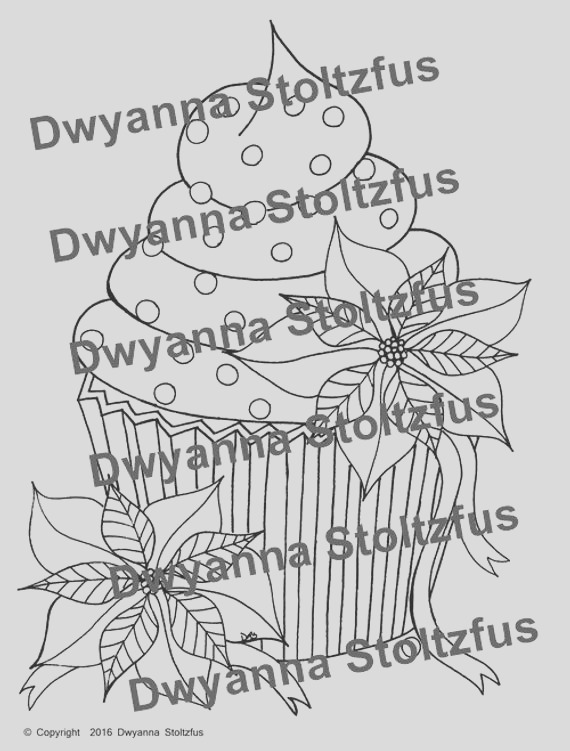 poinsettia cupcake coloring page