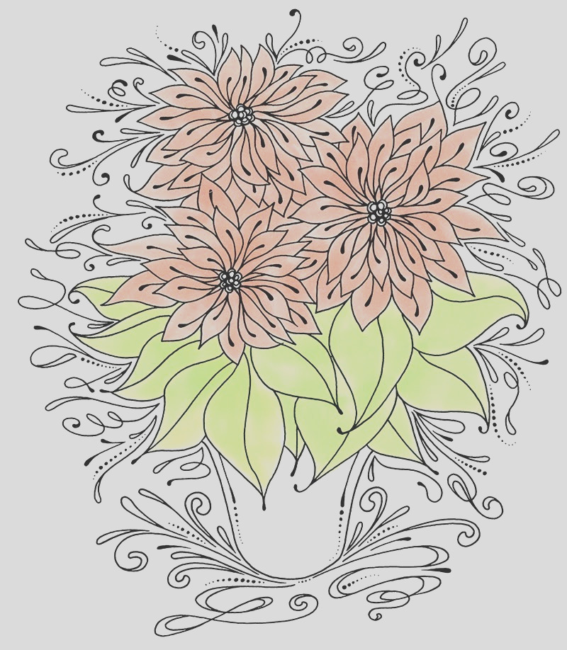 coloring stylized poinsettia