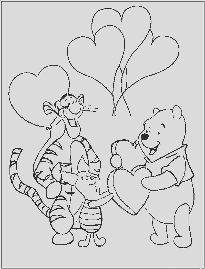 pooh valentine coloring pages