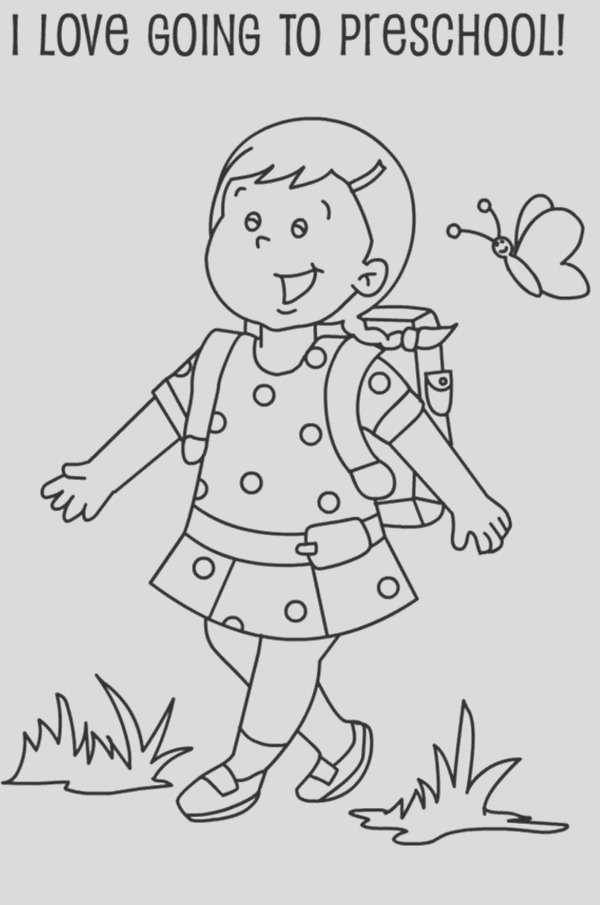 a preschool girl student on her first day of school coloring page