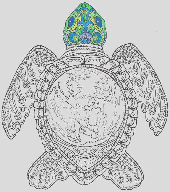 adult coloring page world turtle