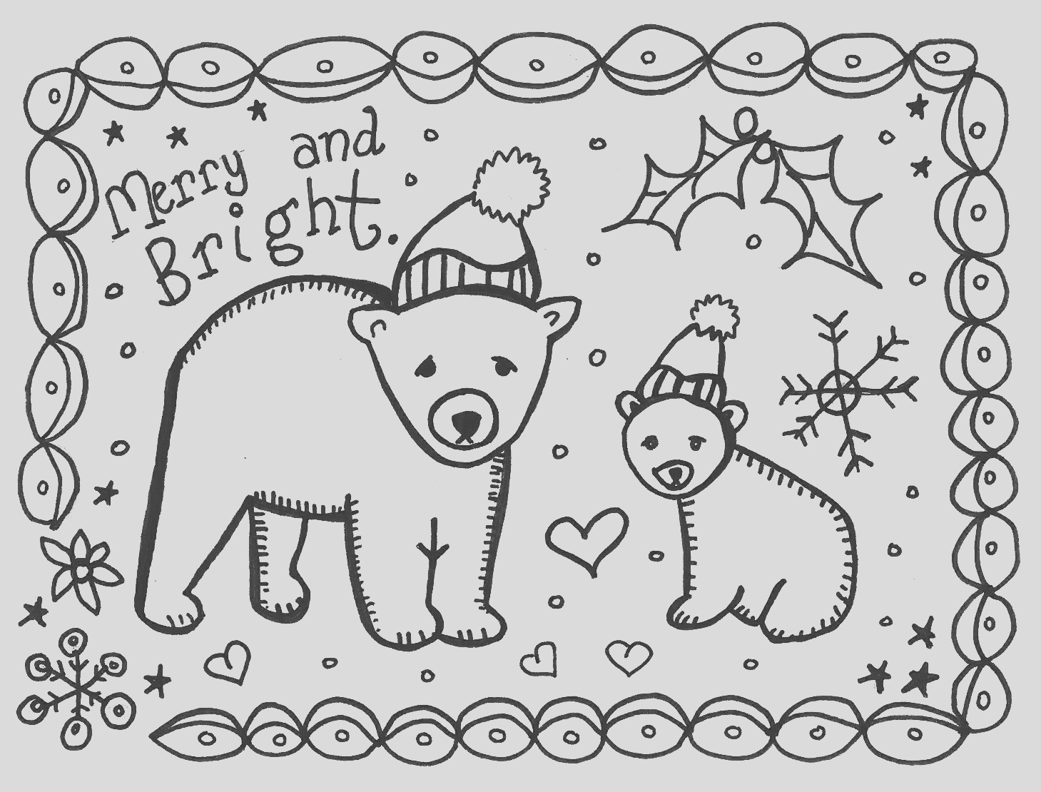 happy winter print and color this card