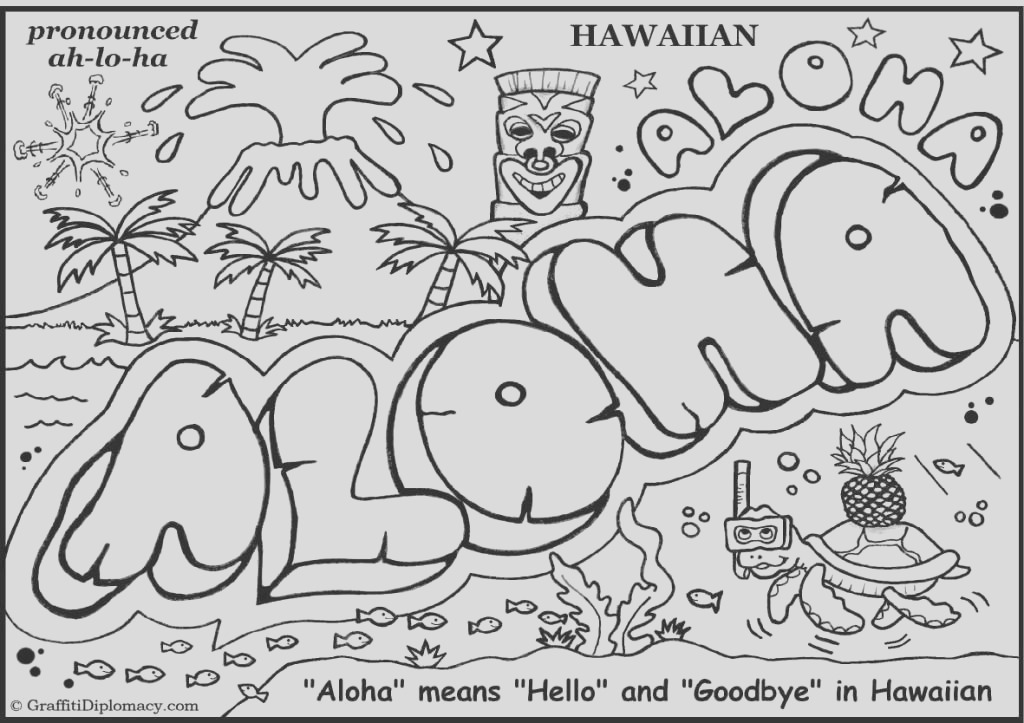free luau coloring pages