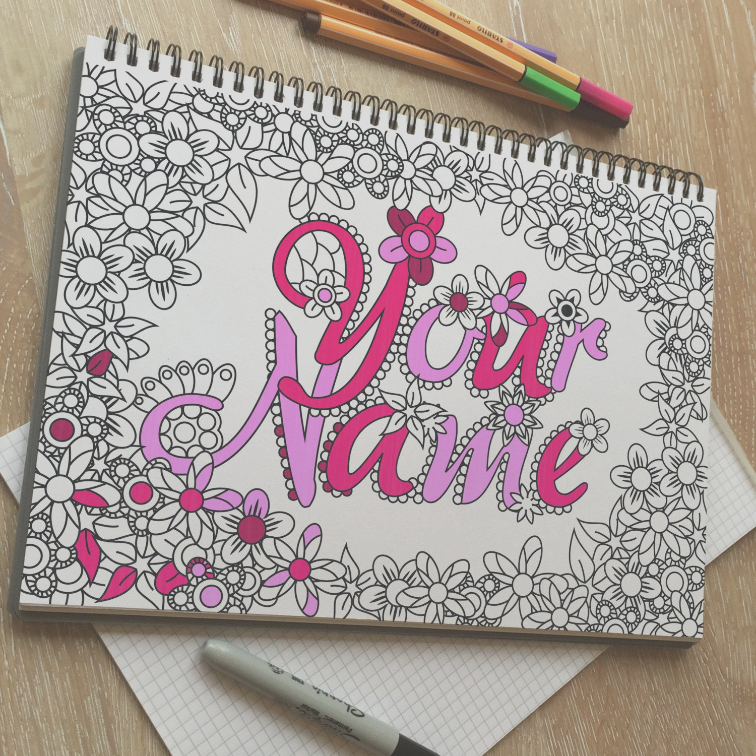 your name custom adult coloring page