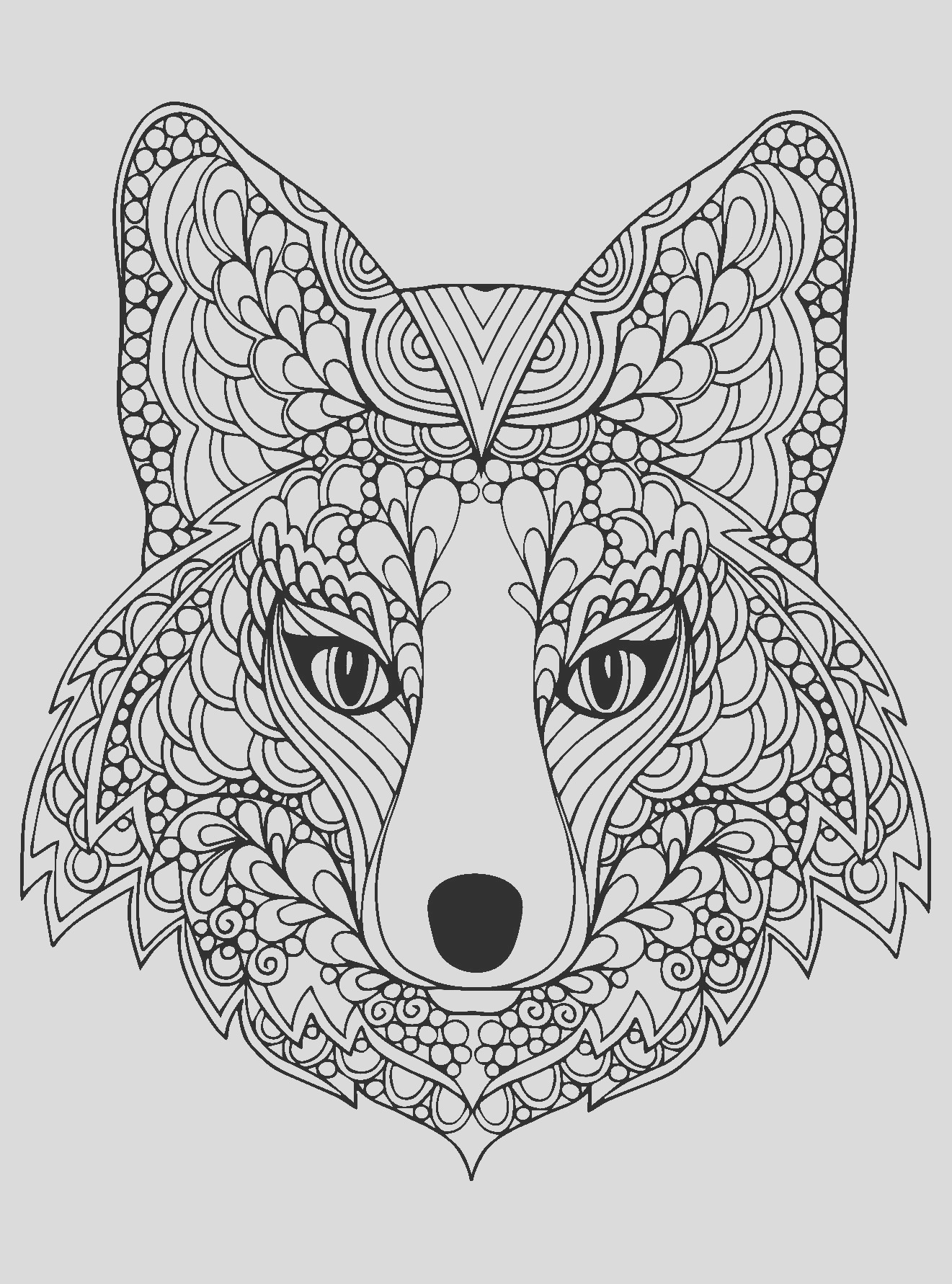image=foxes coloring page beutiful fox head 1