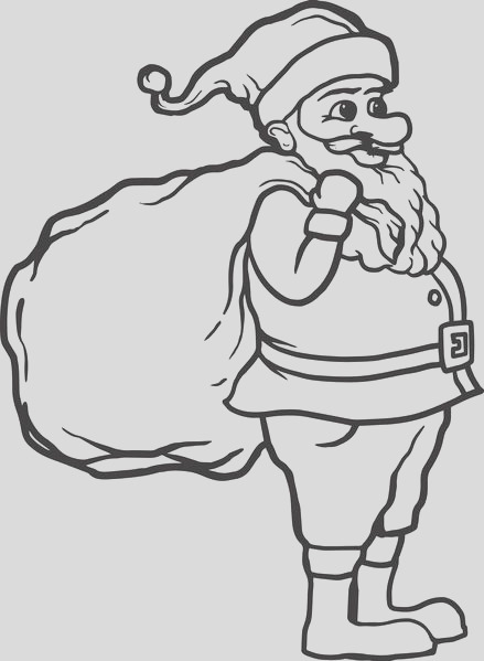 coloring page of santa standing sideways with a bag of presents a4203