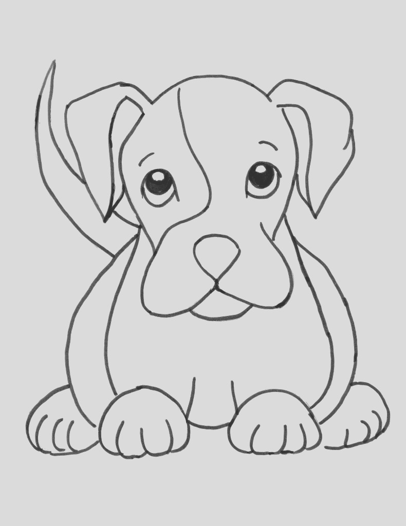 boxer puppy coloring page 2