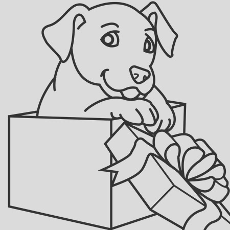 christmas puppies coloring pages for