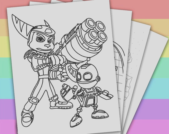 4 coloring pages ratchet and clank ps4